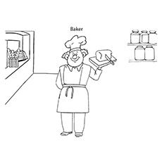 Desenho de padeiro e pão para colorir