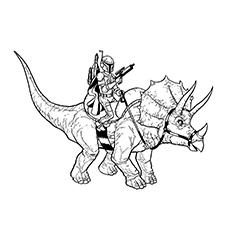 Página para colorir Boba Fett - Boba Fett montando um ceratopsian