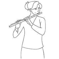 Página para colorir flauta - uma estudante tocando flauta