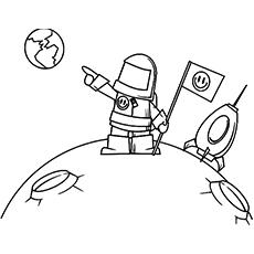 Astronauta, apontando para a terra Imagem a cores