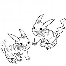 Pikachu como um zumbi