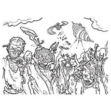 Desenhos de Gang of Zombies para colorir
