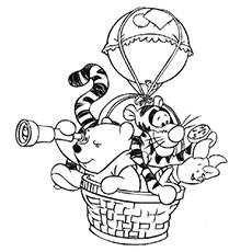 Pooh e amigos no passeio de balão de ar para colorir