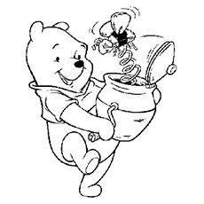 Desenhos de Winnie the Pooh para colorir com brinquedos da abelha do mel