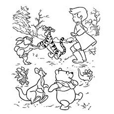 Desenho de Winnie e seus amigos brincando com Christopher Robin