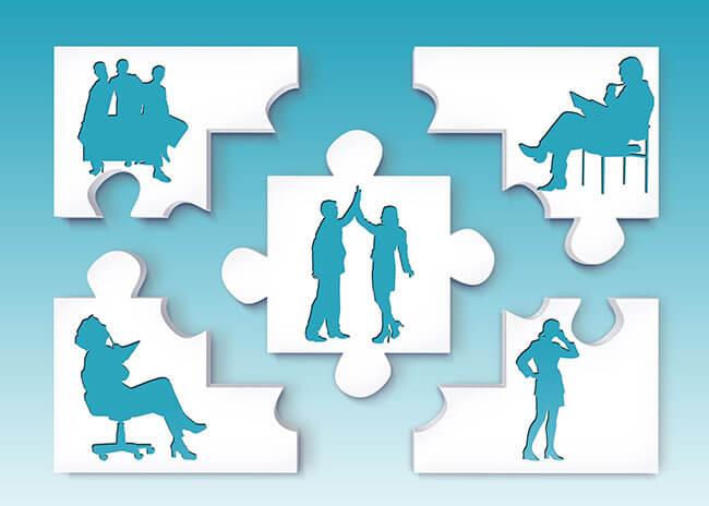 Puzzle de pessoas - 'motivação para o trabalho'