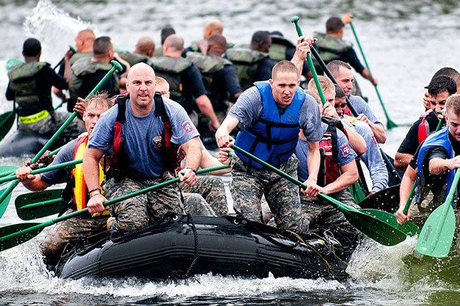 Equipe de remo de rafting. - 'Motivação no trabalho'