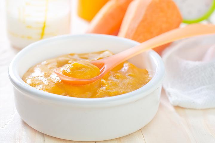 Purê de manga e cenoura