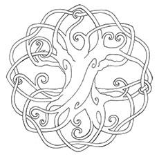 Desenho de Árvore Celta da Vida para colorir
