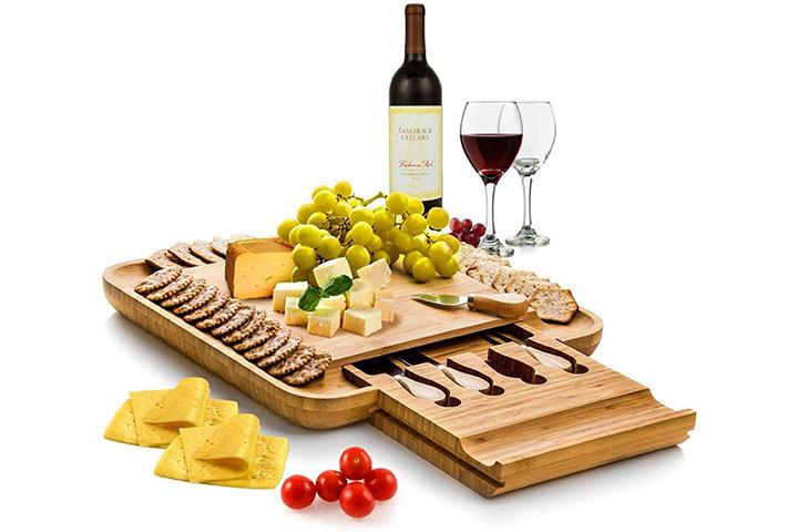 Conjunto de tábua e faca de queijo Bambusi