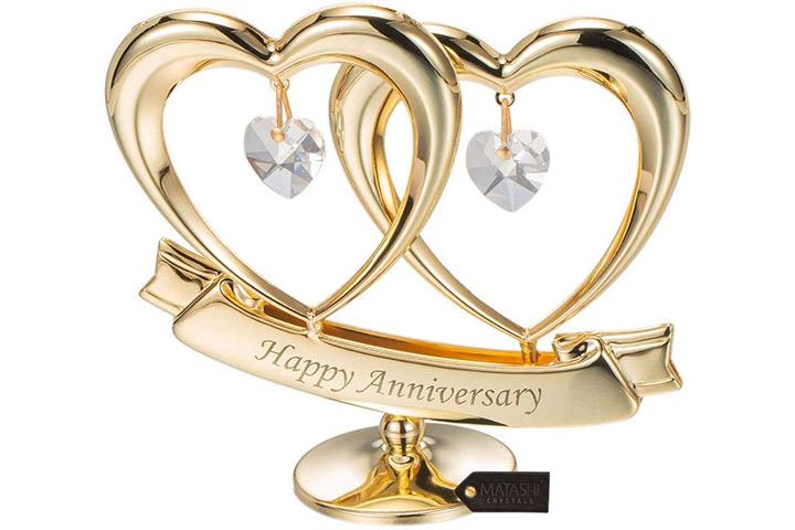 Matashi 24 K banhado a ouro bonito feliz aniversário topper de mesa coração duplo