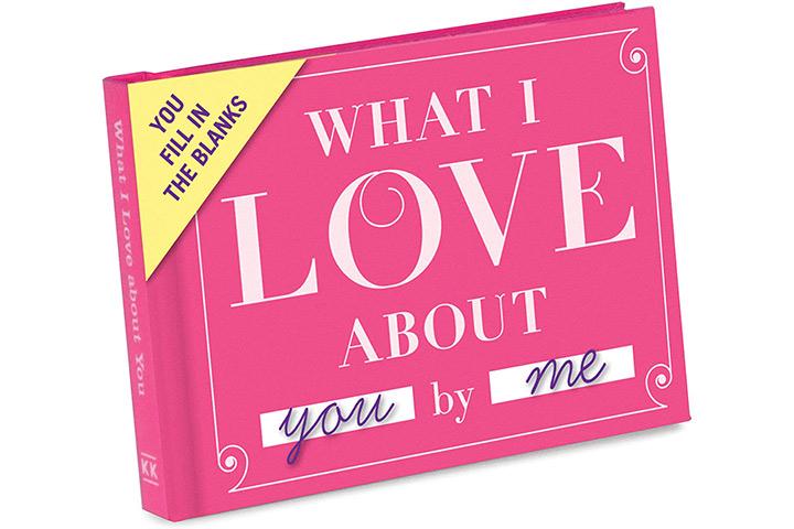 Knock Knock O que eu amo em você Preencha o Livro de Amor Preencha os espaços em branco Diário de presentes
