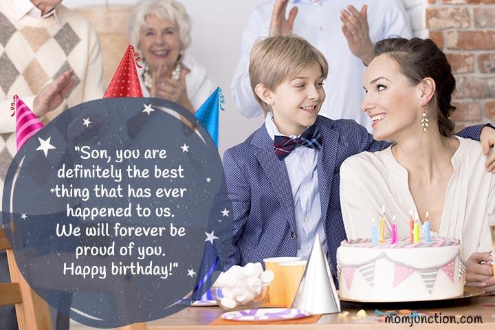 Parabéns para o filho