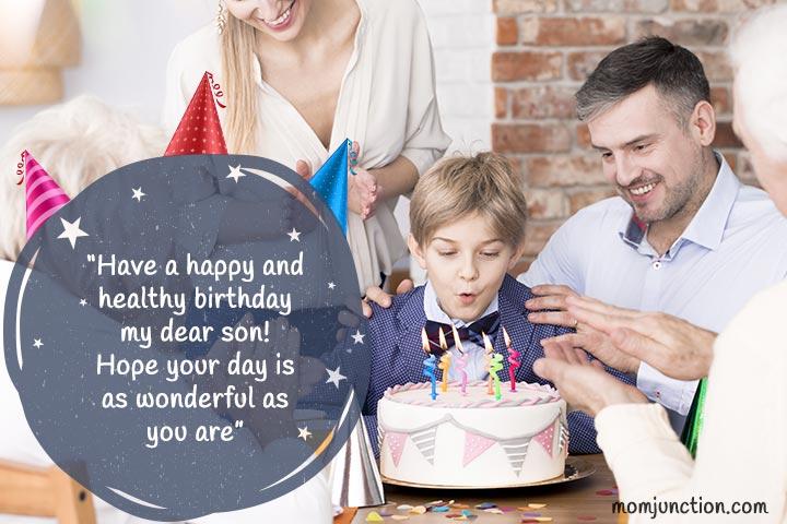 Desejos de aniversário para o filho