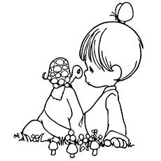 Tartaruga com uma garota para colorir