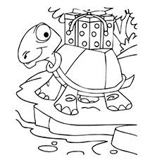 Colorir imagem de tartaruga carregando um presente do Papai Noel para imprimir