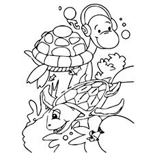 Páginas para colorir de duas tartarugas desfrutando juntas na água e prontas para ouvir música