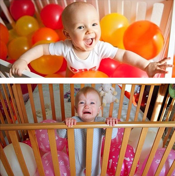 Às vezes, os balões nem sempre agradam os bebês.