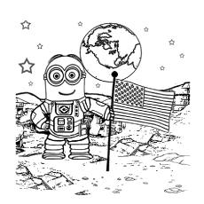 Desenhos de astronauta caminhando na lua para colorir
