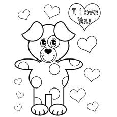 Desenho de Urso dizendo eu te amo no dia dos namorados para colorir