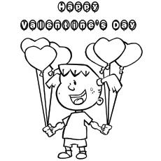 Página para colorir de uma garota desejando dia dos namorados com balão