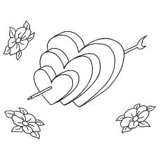 Desenho de corações para colorir