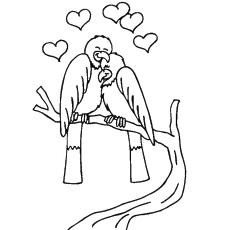 Pássaros do amor na imagem do dia dos namorados para colorir grátis