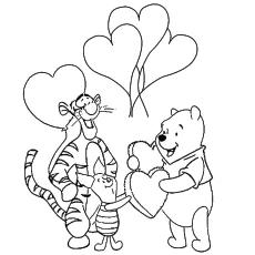 Pooh e amigos coração balão coloração folha no dia dos namorados