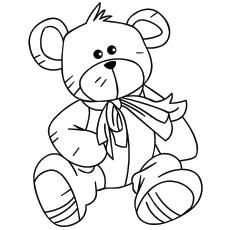 Página para colorir ursinho no dia dos namorados