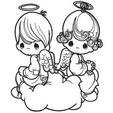 Desenho de Anjos dos Namorados para colorir