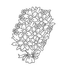O buquê de flores para colorir