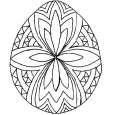Padrão geométrico na folha de coloração para impressão de ovo de Páscoa