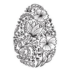 Imagem floral de ovo de Páscoa para colorir