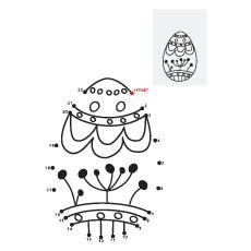 Ligue os pontos para completar a imagem do ovo da Páscoa para colorir.
