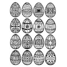 Design de ovo de Páscoa em espiral e floral para colorir