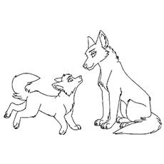 Desenho de lobo com filhote para colorir