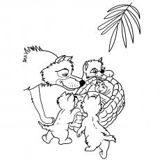 Lobos protegendo um bebê