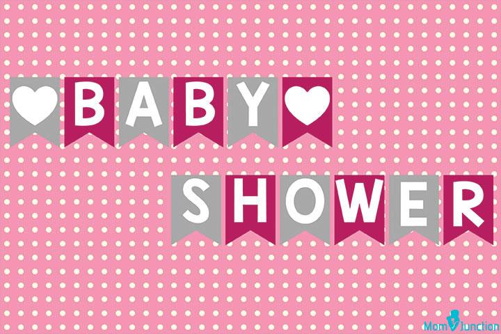 Banner de chuveiro de bebê com coração