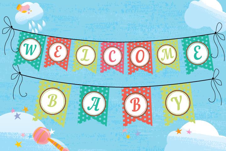 Banners imprimíveis livres do chuveiro de bebê