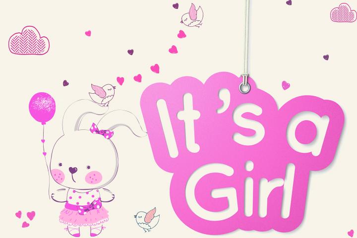 Banner imprimível do chuveiro de bebê para meninas