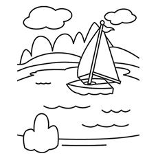Coloração do lago - lago e barco