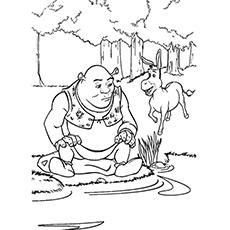 Coloração do lago - Shrek e burro no lago