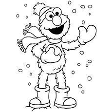 Desenhos de Elmo desfrutando de inverno