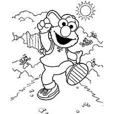 Desenhos para colorir Elmo andando na natureza durante o dia de sol