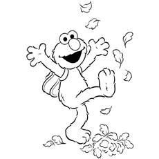 Desenhos para colorir Elmo, desfrutando de folhas de outono
