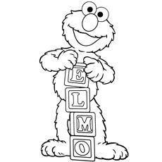Desenhos de Elmo para brincar com os blocos do alfabeto que soletram seu nome