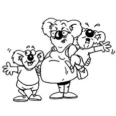 Koala mãe grávida com crianças para colorir
