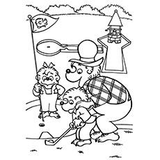 Desenhos para colorir Golf - O urso Papa Bernstein ensina o irmão e a irmã Bear a jogar golfe