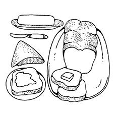 Desenho de pão com manteiga para colorir