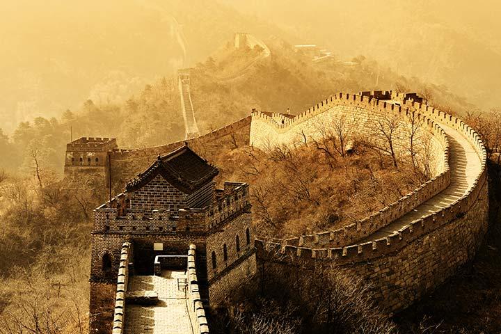 Início e fim da Grande Muralha da China